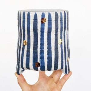 Blue Stripe Gold Dot Lrg Planter