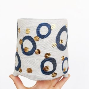 Large White Indigo Circle Gold Dot Planter