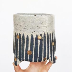 Large buff stripe with gold dot planter