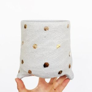 Textured Gold Dotty Large Planter